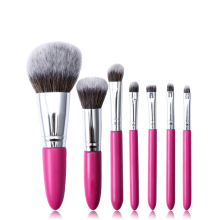 Pink wood handle makeup cosmetic brushwith synthetic hair eyebrow brushes kit