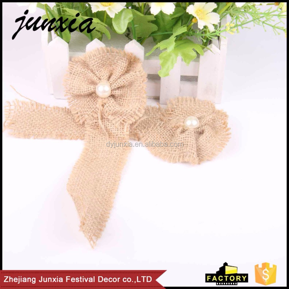 Junxia 2016 Wholesale Custom Hessian Burlap Flowers Rustic Wedding Party Decoration Flower