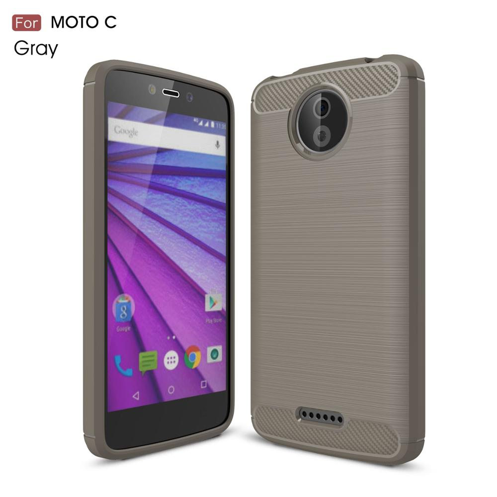 TPU Phone Case For Moto C Carbon Fiber Back Case For Motorola C MT-6429