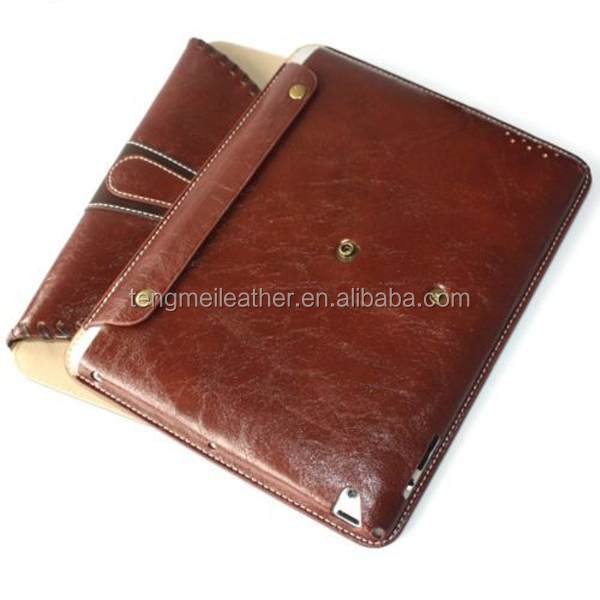 Brown luxury PU Leather Smart Stand Rotating protect Cover leather case for ipad3