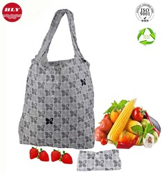 190T Wholesale Custom Reusable Shopping Bag Foldable With Pouch