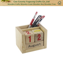 Solid Wood Personalized Wooden Desk Calendar with Pen Holder