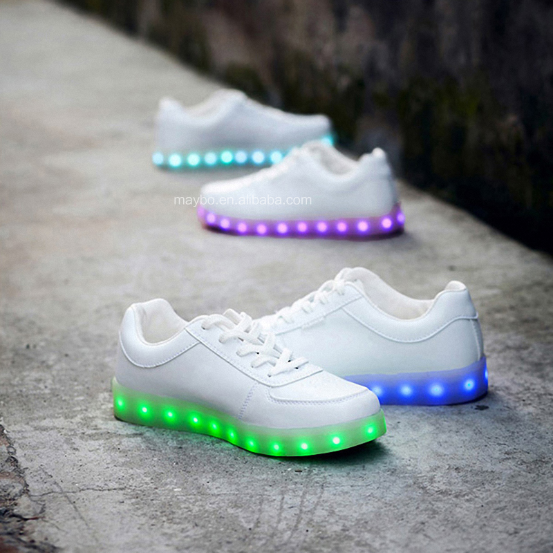 Hot New Fashion Large Size 46 Rechargeable OEM High quality PU leather sneakers LED Shoes
