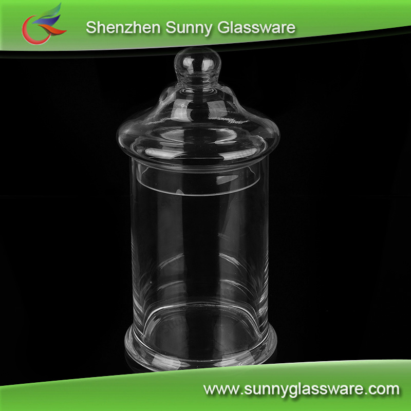 Cylinder crystal clear glass jar container for food storage