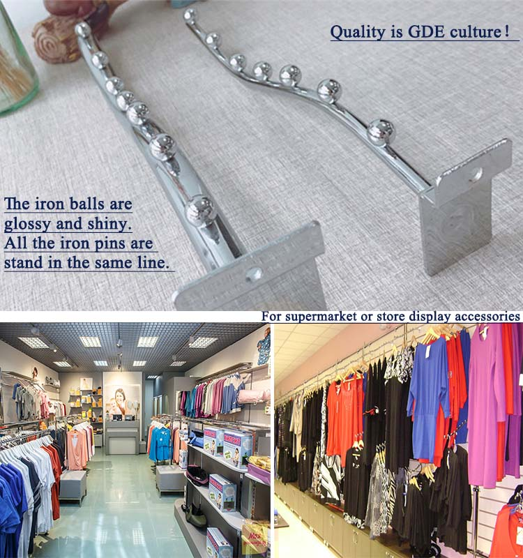 Metal chrome display hook for slotted channel store & supermarket supplies