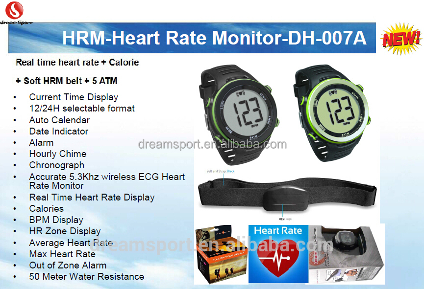 5ATM softchest big Lcd display heart rate pulse measuring watch