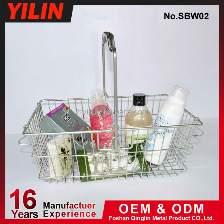 Cosmetic shopping baskets with handles