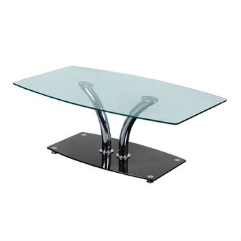 Design clear tempered glass hot sale coffee table for home office with chrome legs Carmen NINA