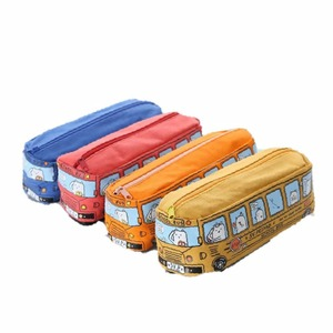 2018 Kawaii Bus Pencil Case Canvas Large Capacity School Supplies Stationery Gift School Cute Pencil Box Pencilcase Pencil Bag