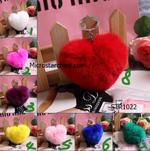 2016 Nice magnetic jewelry Soft Cute Rabbit Fur Heart Ball PomPom Car Pendant Handbag Ring Key Chains