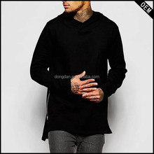 custom fashion tight fit long sleeve hood t shirt with zipper for longline men tshirts