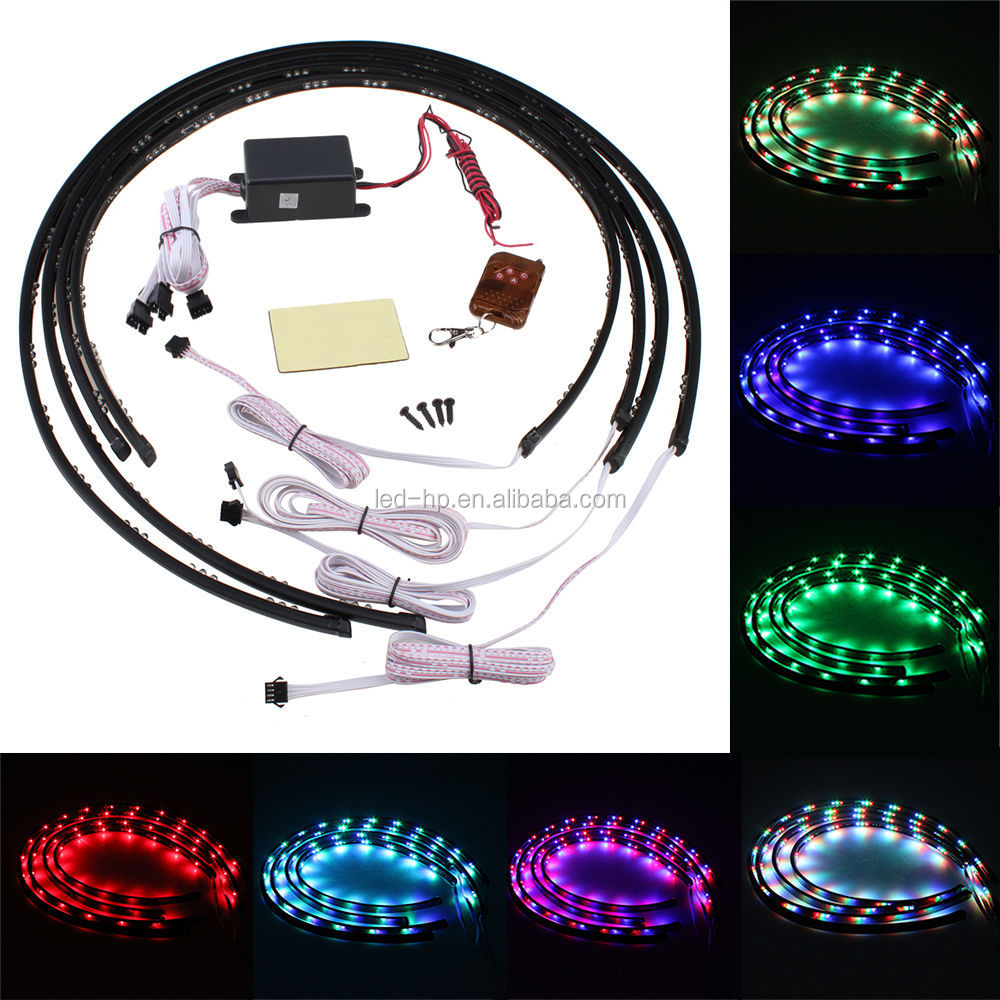 Car Under Glow Underbody 7 Color Flexible LED Strip Neon Lights Kit
