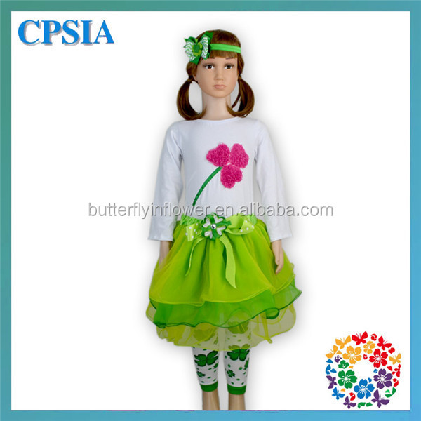 New Arrival 2015 Fashion White Green Long Sleeves Cotton Shirts & Skirts & Headband & Leg Warmer Set Shamrocks Outfits