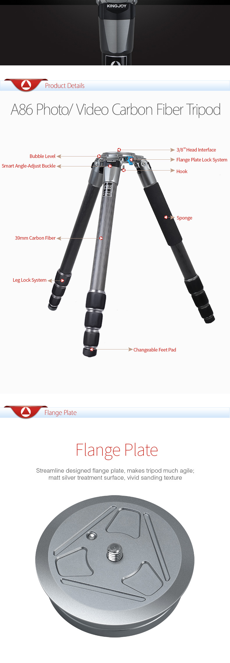 Kingjoy Factory direct selling High-end Water Proof Tripod Stand for Outdoor Photography