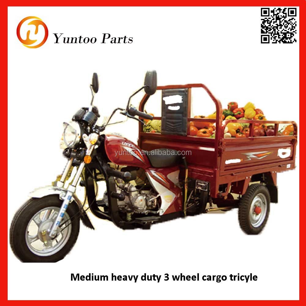 tricycle, three wheel motorcycle with optional engine and loading cargo box