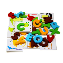 FQ brand 26pcs alphabets cartoon geometrical animals shape board jigsaw puzzles for adults