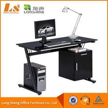 black tempered glass office computer desk modular