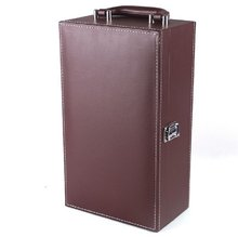 China supplier cusotm logo handle portable rectangle 2 bottle leather wine box for packing gift box set