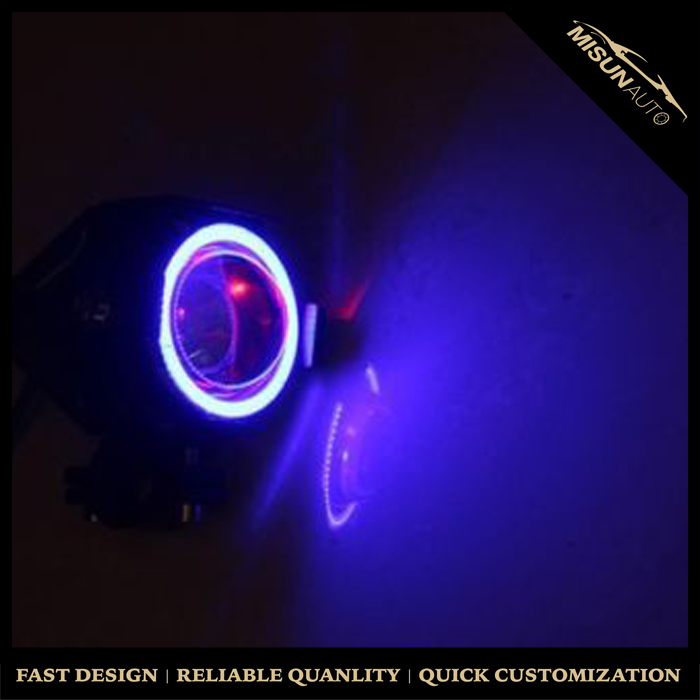Bifocal Lens Fog Lamp Assembly LED Angel Eye Rings DRL for Jeep Dodge Chrysler