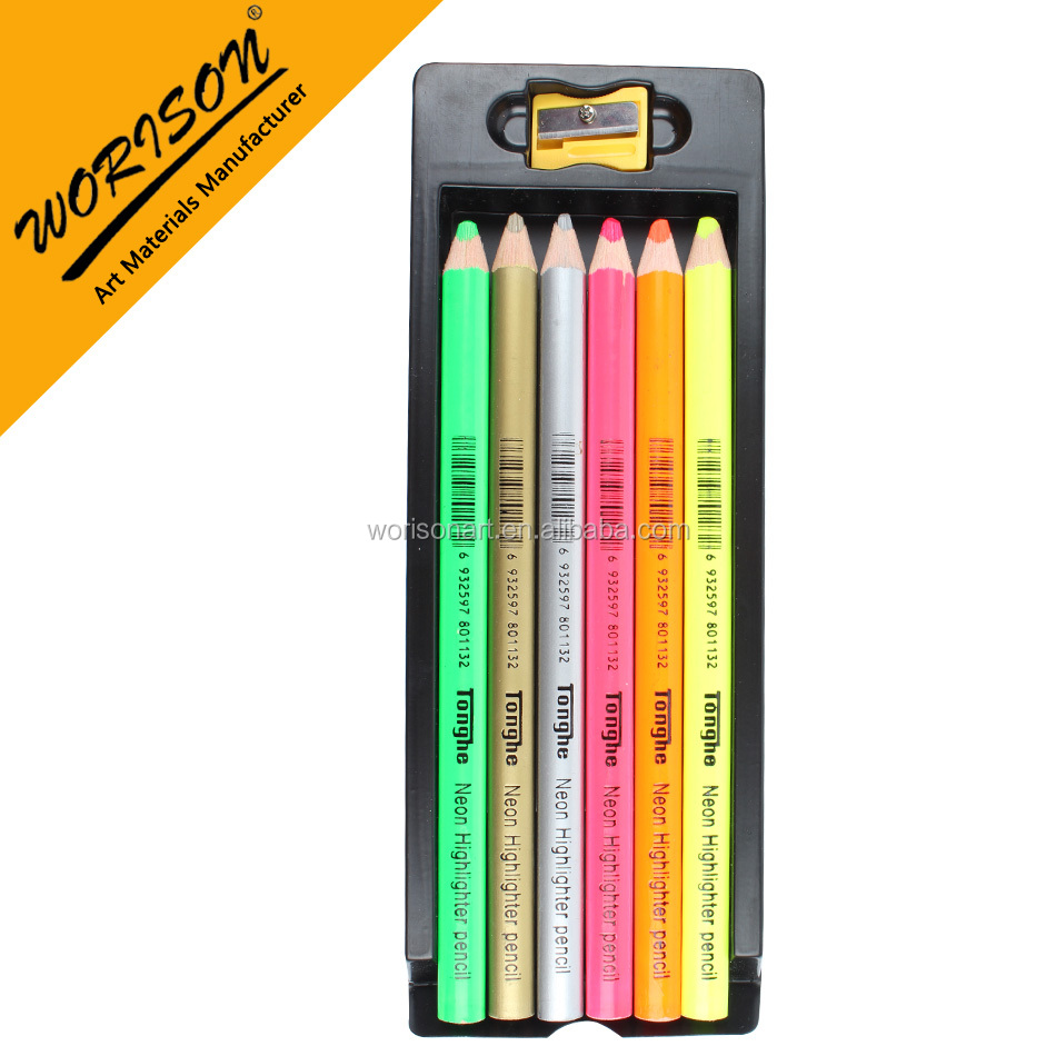 Artist 6 pcs wooden colouring fluorescence pencil neon highlighter pencil