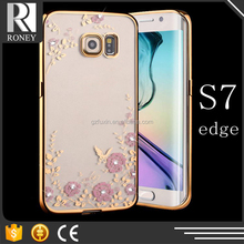 Flower Print Electroplating TPU back case cover for samsung galaxy s duos s7562
