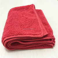 320 gsm 16x16 Red Super Plush Multi-Purpose Auto Detailing Polishing Buffing Wax Removal Microfiber Car Cleaning Cloth