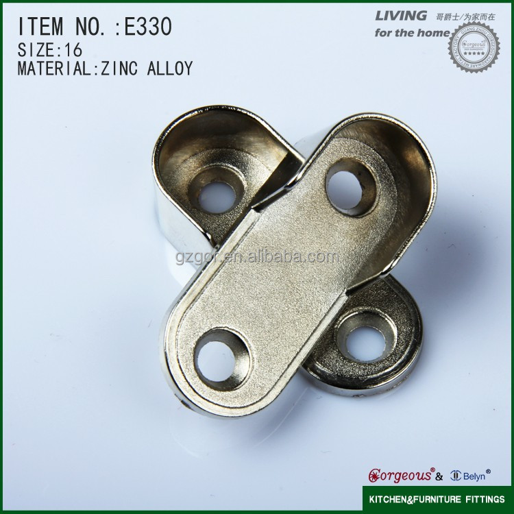 high quality fasten zinc alloy wardrobe oval pipe support