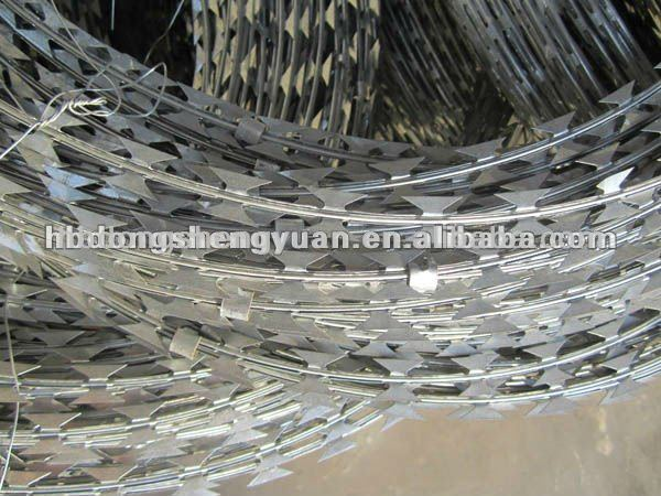 Hot dipped galvanized BTO 22 blade concertina single razor barbed wire