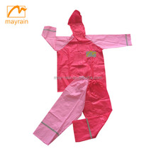 Pretty pink rain suit with girls pvc full body raincoat