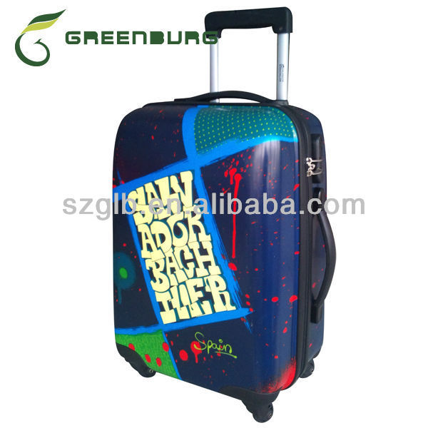 Printed Waterproof Spinner ABS+PC Hard Shell Colorful Trolley Case 2014