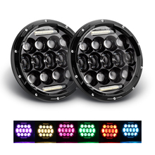 "Cheapest High/Low Beam Halo Ring RGB 7""Headlights,7 inch Round Led Headlights for Jeep Wrangler"