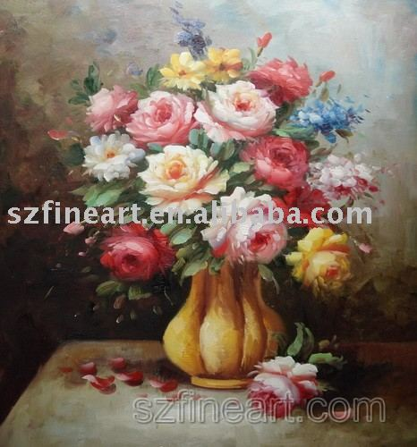 Competitive price handmade flower vase oil painting house painting