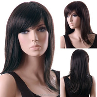 New Arrival Stunning Straight Long Hair Full Wig Women Hairpiece Dark Brown color wig