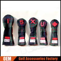 Custom UK Retro Wool Tweed & Leather Golf Club Head Cover Set