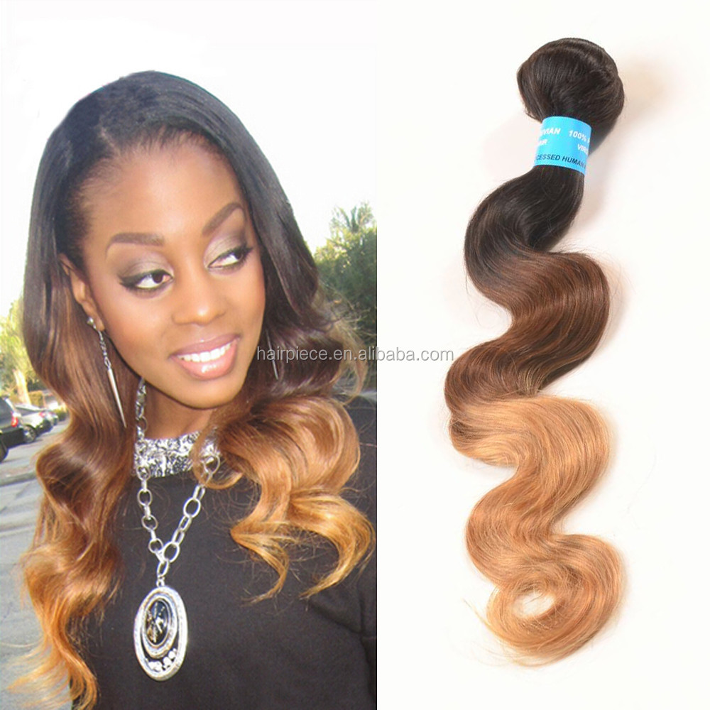 Factory wholesale 7a high quality Peruvian body wave natural colored three tone hair weave, 100% peruvian virgin hair