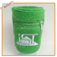 Wholesale White Color Custom Printed Cotton Knitted Zipper Pocket Wristband