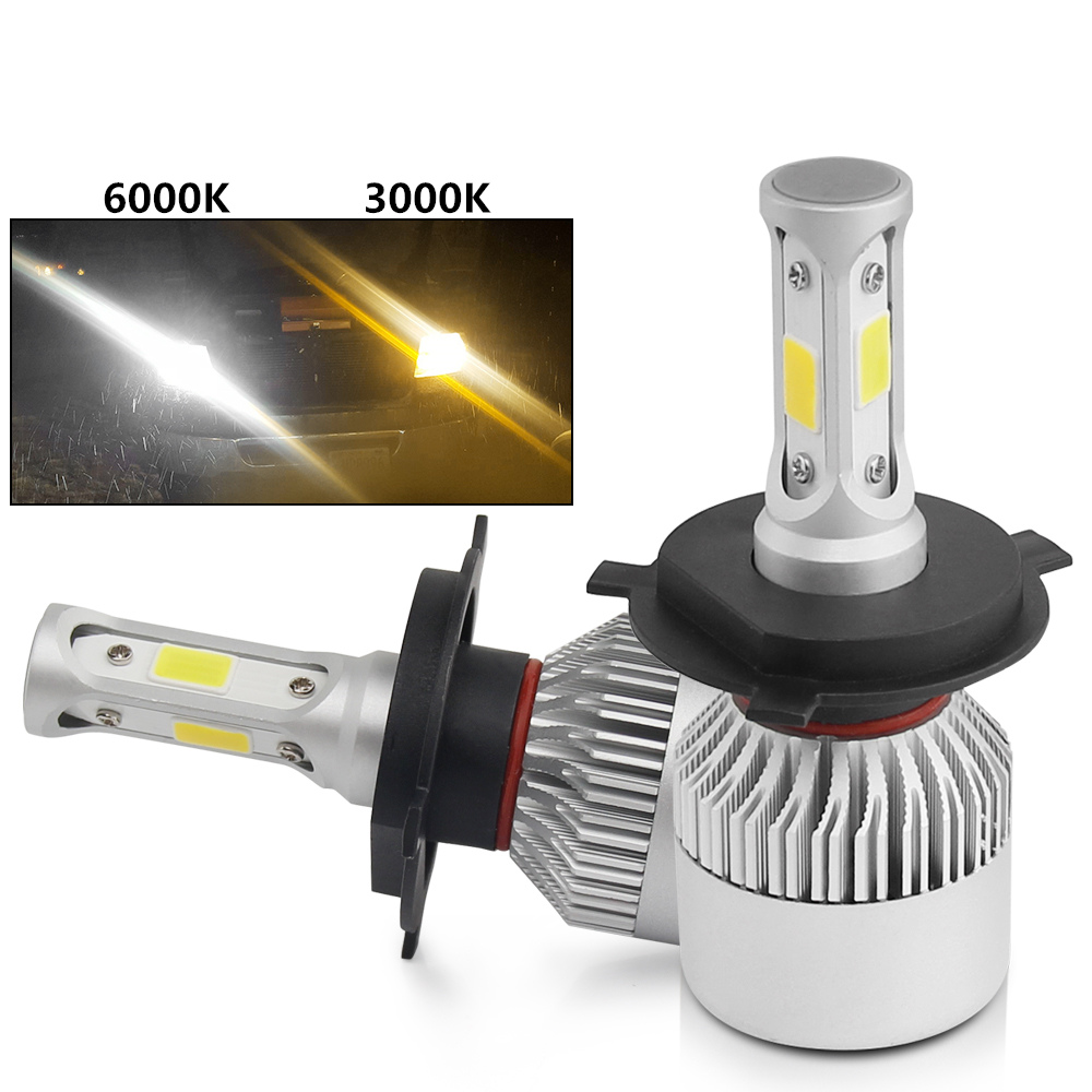 3500K 6500K <strong>Yellow</strong> Amber White Three sides 360 Lighting 9005 9006 H11 H7 H4 S2 Dual Color Led Headlight