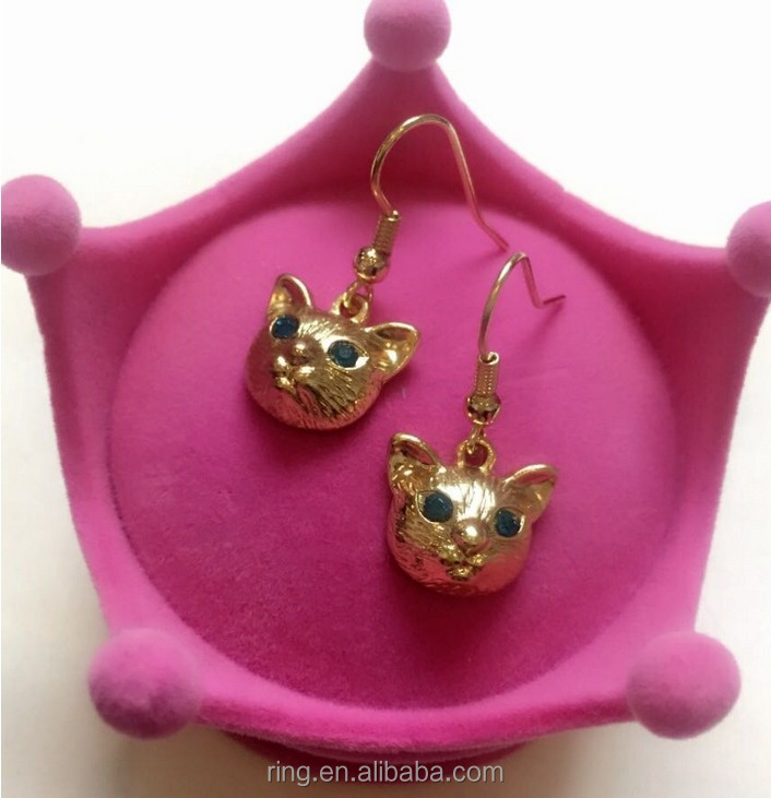 Fashion animal jewelry gold plated green eye cat head earring