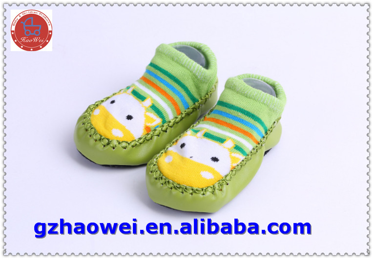 Cartoon printed soft leather baby shoes socks