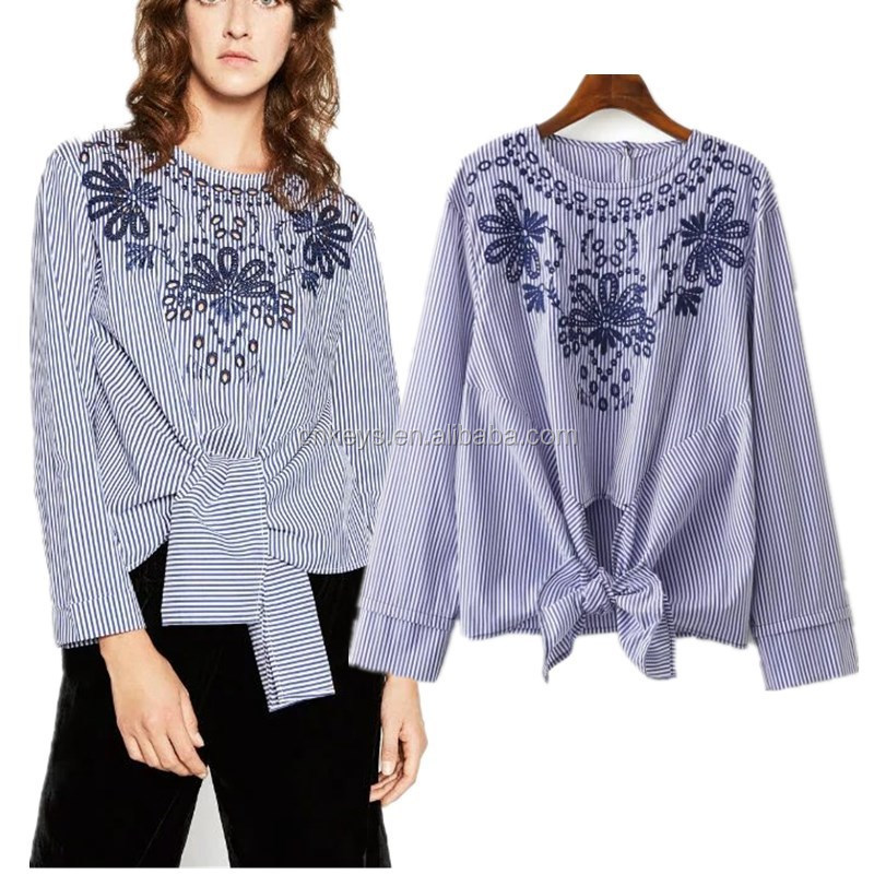 K1285A New Fashion Images Of Ladies Casual Tops Restoring Ancient Ways Embroidery 2017 New Design Ladies Blouse