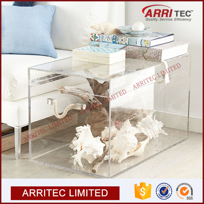 Home Decor Clear Plastic Material Morden Style High End Quality Display Storage Table Acrylic Trunk