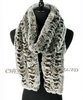 CX-S-138E Lady Knitted Rex Rabbit Fur Girls Winter Knitted Scarf