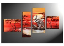 4 panel the elephant beautiful african scenery landscape oil painting PL-18