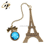 Wholesale bulk cheap custom Eiffel Tower metal bookmark for books with your logo