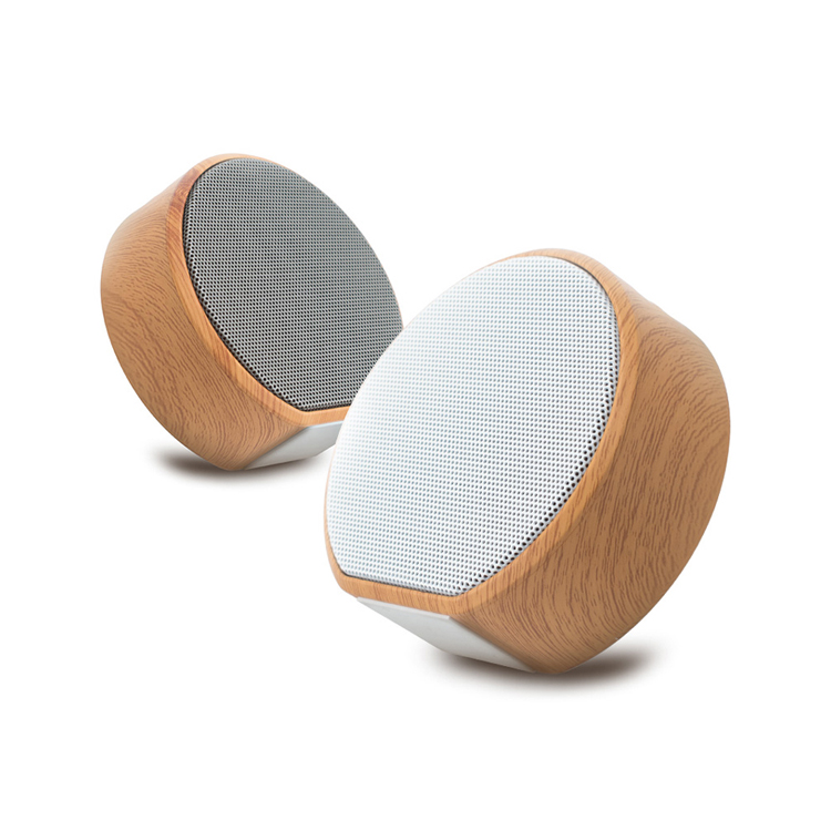 Portable Mini Wireless Wood <strong>Grain</strong> Round Wholesale 2018 High Quality Bluetooth Speaker