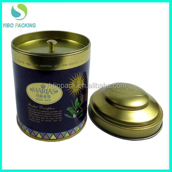 Best selling round double lids tea tin cans custom design tea tin box food grade