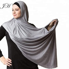 Factory Sale Easy Wear Plain Women Scarf Shawls Solid Color Muslim Double Loop Instant Jersey Hijab