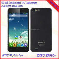 ZOPO ZP980+ MTK6592 Octa Core Phone 5 Inch ZOPO C2 Platinum Upgrade ZP980 Plus 2GB RAM Smart Mobile Android Phone 3G Black White