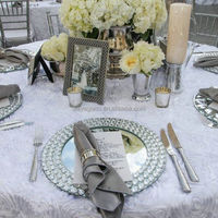 100164 Wholesale Silver Gold Beaded Mirror Wedding Charger Plates