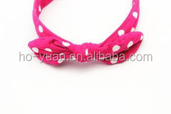 cute cheap fabric headband hair accessory with bow design for baby girls